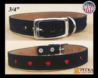 Black Leather Suede Dog Collars - Soft Dog Collars with Heart design in Red, Gold or Silver - Leather Collars for Medium Dog - Made in USA