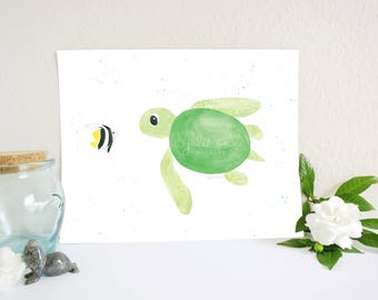 Sea Turtle and Butterflyfish Friends Art Print, Sea Turtle Art Print, Ocean Nursery Art, Under the Sea Nursery, Baby Room Art, Kids Wall Art