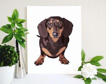 Brown Dachshund Art Print, Dachshund, Dachshund Decor, Doxie Art, Doxie Decor, Dog Art, Wiener Dog, Dog Wall Art, Dog Lover Gift, Dog Decor