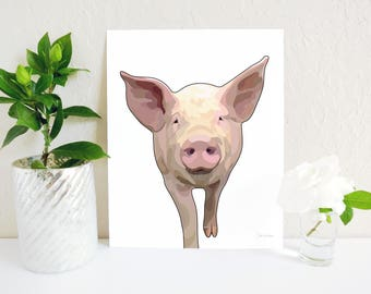 Pig Art Print, Pig Painting, Farm Animal Decor, Farmhouse Decor, Pig Nursery Art, Animal Art, Pig Wall Art, Farm Nursery Print, Pig Gift