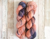 OOAK | yukihira bulky|  hand dyed yarn | coral strawberry navy speckled | 100% SW Merino Bulky
