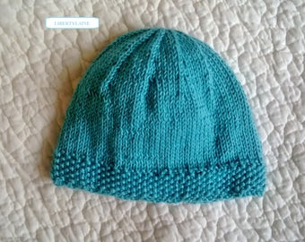 Birth to 1 month Cap 100% cotton green turquoise blue.