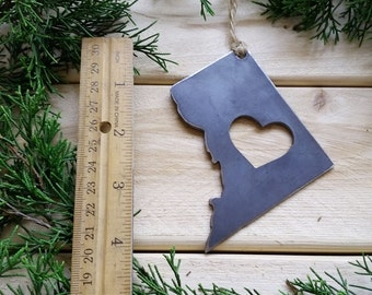 District of Columbia Christmas Ornament DC Metal State Heart Christmas Tree Ornament Holiday Gift Wedding Favor By BE Creations