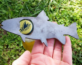 Trout Fish Metal Bottle Opener Rustic Steel Recycled Metal Industrial Travel Gift, wedding favor, Party gift, beer opener, gift for him