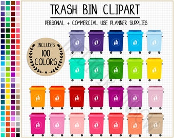 SALE 100 TRASH BIN clipart garbage clipart house chores clipart house stickers cleaning planner stickers rainbow Erin Condren Happy Planner
