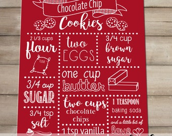 Recipe Wall Hanging - Chocolate Chip Cookie Recipe Printable - Digital Download - Kitchen Wall Decor - Wall Hanging