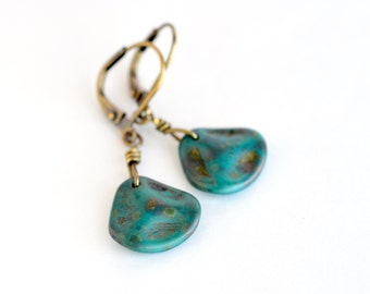 Rose petal drop earrings, Czech glass earrings, turquoise bronze dangle earrings, boho chic blue earrings, vintage inspired blue jewelry