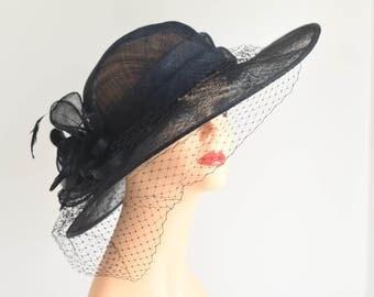 Fancy Medium Brim Kentucky Derby Floppy Slant Top Bucket with Flowers  Millinery Church  Hat Black