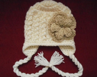 Cream baby girl hat, girls earflap hat, newborn winter hat, baby girl hat, crochet baby hat, hats for girls, newborn girl hat, wool baby hat