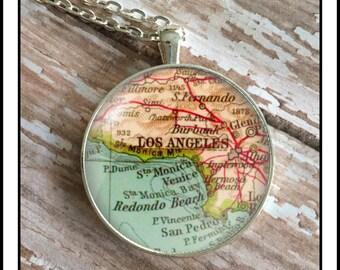 Map necklace, Antique map photo necklace, Los Angeles pendant vintage gift