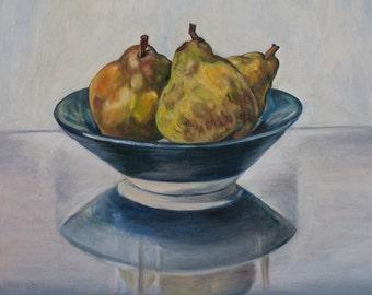 Oil Painting Three Pears Original Artwork Home Decor Wall Decor Wall Hanging Art Fruits Classical Still Life 40x40cm