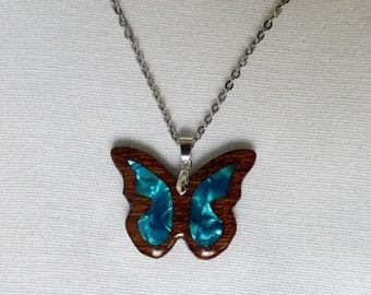 Butterfly wooden necklace.