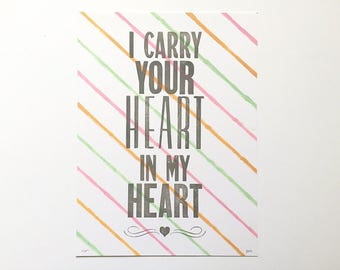 SALE! *As is* Letterpress Print - I Carry Your Heart