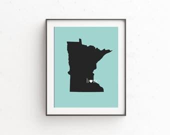 Minnesota Art, Minnesota Map, Minnesota Wall Art, Minnesota Print, Minnesota Art, Minnesota Gifts, Map of Minnesota, Minneota State, MN Art