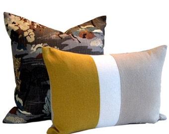 Kravet Mustard/White/Natural Linen Pillow Cover