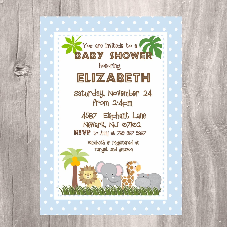 Safari Baby Shower Invitation: Safari Baby Shower Invitation Jungle Baby Shower Invitation