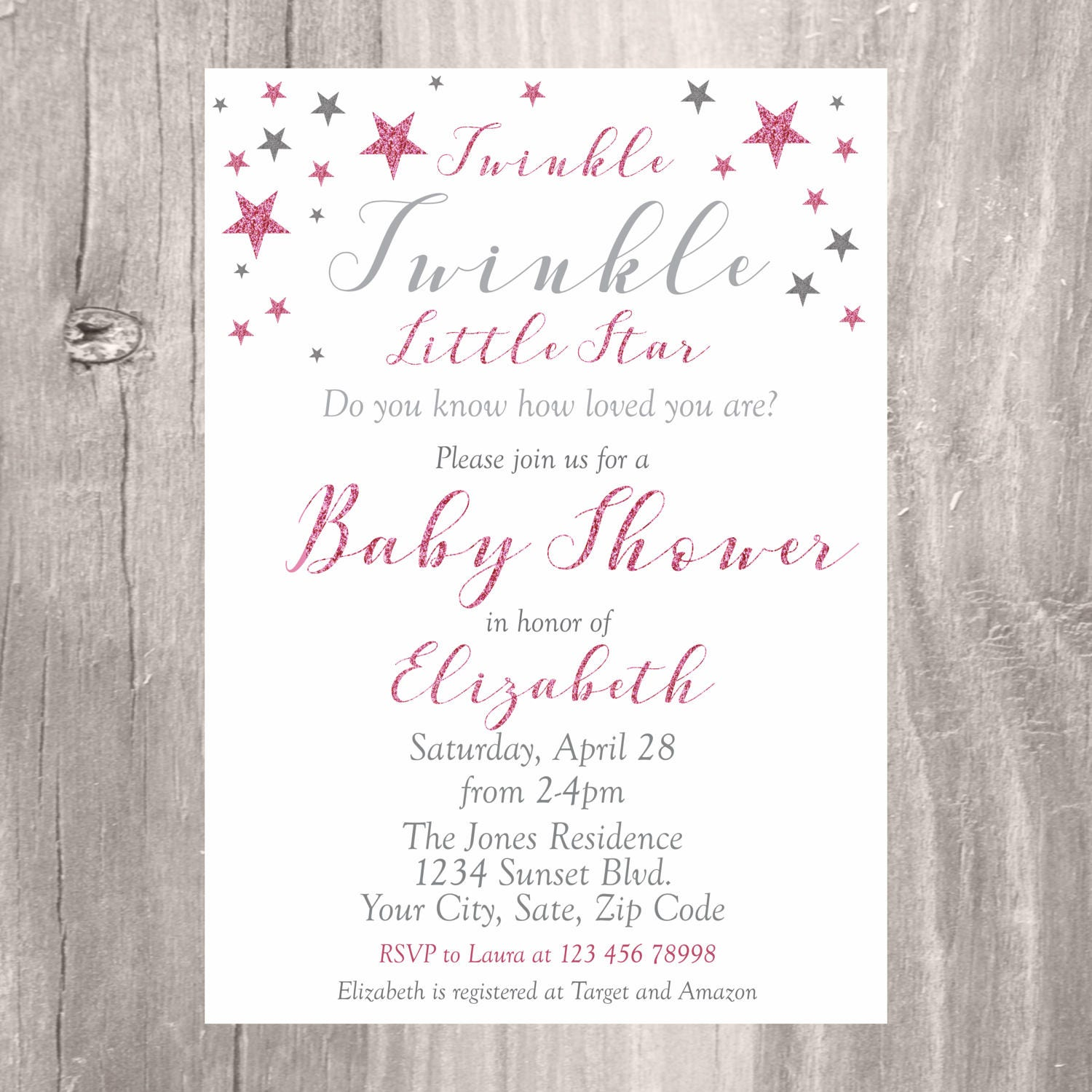 baby shower invitation pink and silver twinkle little star