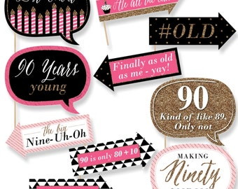 Funny Chic 90th Birthday - Pink, Black and Gold - Photo Booth Props - 90th Birthday Party Photo Booth Prop Kit - 10 Photo Props & Dowels