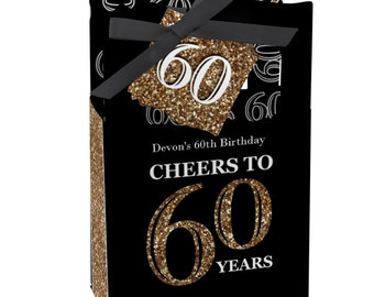 60th Birthday Party Favors for Birthday Parties - Favor Boxes - Adult 60th Birthday - Gold Party Supplies - Set of 12