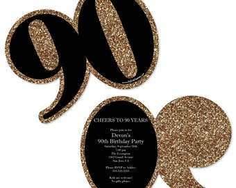 90th Birthday Invitations - Adult 90th Birthday - Gold Personalized Birthday Party Age-Shaped Invites - Set of 12
