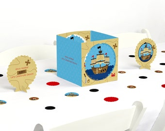 Ahoy Mates! Pirate - Centerpiece & Table Decoration Kit - Baby Shower and Birthday Party Decorations - 39 Piece Set