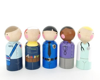 5 female peg dolls- community helpers // peg dolls with felt sleeping bag // wooden peg dolls - wooden toys