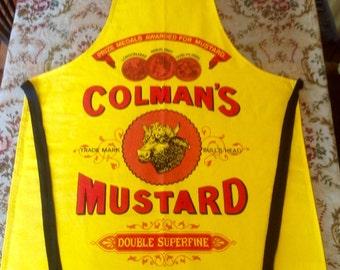 Vintage Cotton Apron. Colman's Mustard. 1980's.