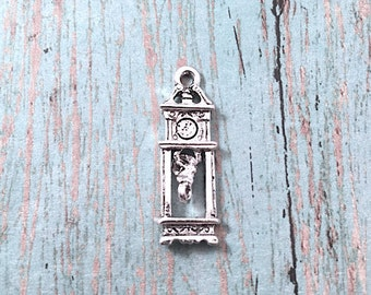 Grandfather clock charm (1 sided) silver plated pewter (1 pc) - silver grandfather clock pendant, longcase clock charm, floor clock, BX192