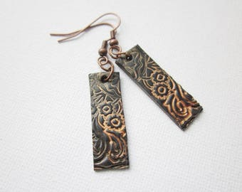 Earrings, dangle earrings in black and copper, polymer clay drop earrings, polymer clay jewellery
