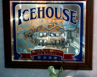 """Rare Large Vintage Mirror """"Icehouse Plank Road Brewery Framed Beer Sign"""
