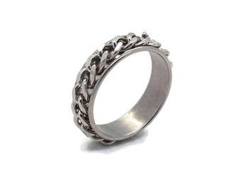 Stainless Steel Chain Ring, Stainless Steel Ring, Men's Rings, Father's Day, Chain Ring, Stainless Steel Rings, Steel Rings, Mens Ring