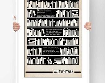 Literary Fine Art Print - Poster Typography Walt Whitman Shut not your doors Poem Illustration literary bauhaus design
