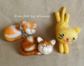 Needle felted Cat brooch handmade OOAK wool art each sold individually
