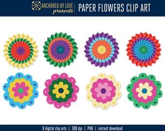 Paper Flower Clipart, Floral Clip art, Flower Clip Art, Fiesta Clipart, Floral Clipart, Fiesta Clip Art