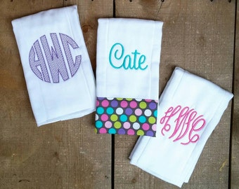 Burp Cloths For Baby Girl Set of 3 Hot Pink, Teal, Purple Baby Shower Gift
