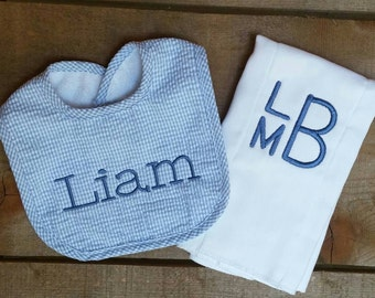 Blue Gingham Baby Bib with Embroidered Name and Mongrammed Burp Cloth Set