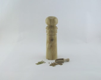 Spices and pepper mill in Spalted maple, Special style with rod mecanisme / 8 1/2 in article no: 554