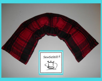 Microwavable Heating Pad, Neck Warmer, Rice Heating Pad, Flax Seed, Sunny Heat Pack, Red Black Plaid