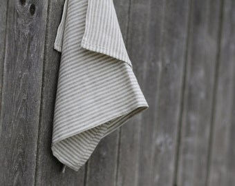 Linen towel white striped with gray grey white linen towel kitchen flax bathroom linens housewares dish cloths
