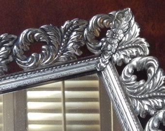 Ornate Silver Tone Mirrored Vanity Tray!