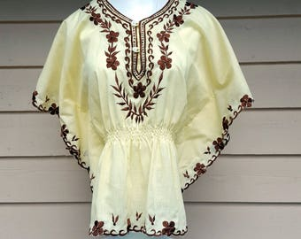 Vintage 1970's Hippie BOHO Top Butterfly Sleeves