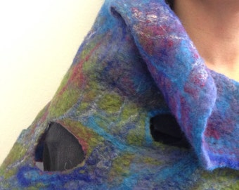 Scarf or shawl Merino felted by hand