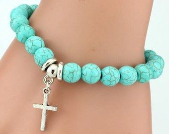 Turquoise Beaded Bracelet with Cross Charm
