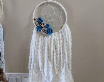 Boho Cream Dreamcatcher with Lace and Ostrich Feathers