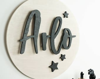 Personalised 3D Wooden Sign, Stars, Wood Cutout, Handmade Nursery Decor, Wall Art, Children's Room, Wall Decor, 3 Dimensional Wooden Sign