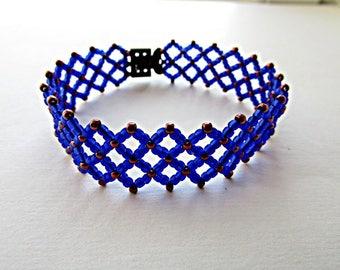Cobalt Blue  Bracelet  Beaded Bracelet  Beadwork Bracelet Blue Bracelet  Beadwoven Bracelet  Ready to ship OOAK