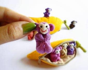 Monkey, Monkey in banana, Stuffed monkey, Monkey plush, Toy, Home decor, Children's gift
