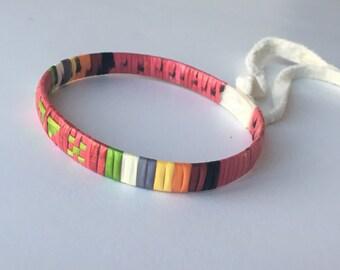 Native American quillwork: Pink bracelet