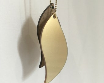 Leaf drop necklace gold, necklace, clasp