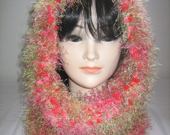 Collar snood hood 3 in 1 fancy wool red green and pink